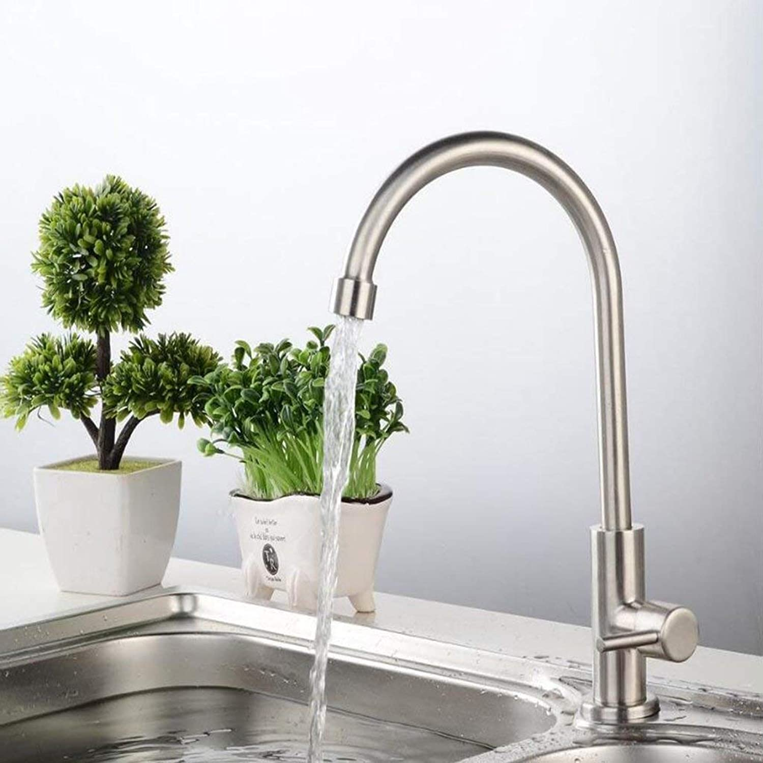 SEBAS HOME 304 stainless steel lead-free single cold kitchen faucet redary sink sink mixer