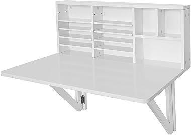 SoBuy FWT07-W Bureau Table murale rabattable avec Armoire murale intégrée, Table cuisine pliable, Table de repas -Blanc