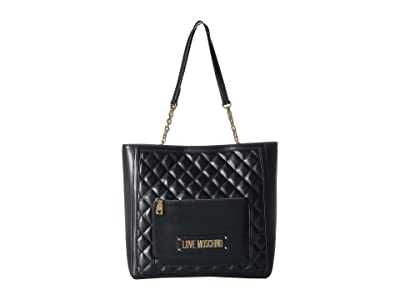 LOVE Moschino Shinny Quilted Tote (Black) Handbags