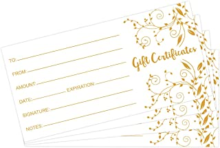 Gold Foil Gift Certificates 25pcs Blank Gift Certificate Cards with Envelopes for Business Spa Restaurants and Salon