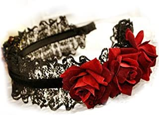 Gothic Lolita COS maid red roses cascading lace hair accessories hair bands