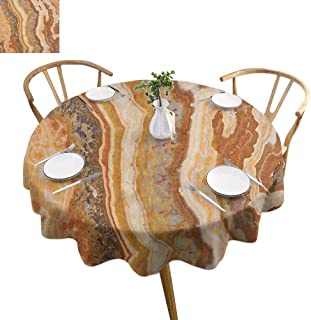 ScottDecor Marble Picnic Cloth Onyx Marble Motif Travertine Mineral Formed Watercolor Ink Textured Illustration Dining Round Tablecloth Multicolor Diameter 50