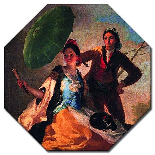Wandbild Francisco de Goya Der Sonnenschirm - 50x50 cm Achteck - Alte Meister Berühmte Gemälde...