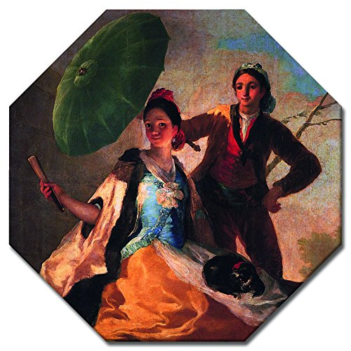 Wandbild Francisco de Goya Der Sonnenschirm - 50x50 cm Achteck - Alte Meister Berühmte Gemälde Leinwandbild Kunstdruck Bild auf Leinwand