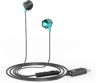 okcsc U200 ヘッドセット USB マイク付きイヤホン 有線 音量調節 全指向性 テレワーク Zoom用 web会議用 在宅勤務 ボイスチャット PC 対応 マイク付き 約2.0m グリーン