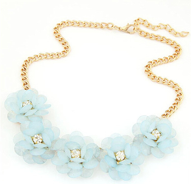 Easting Geometric Bib Statement Crystal Acrylic Bead Necklace Collar Choker Jewelry for Women Lady Flower Shape (Blue)