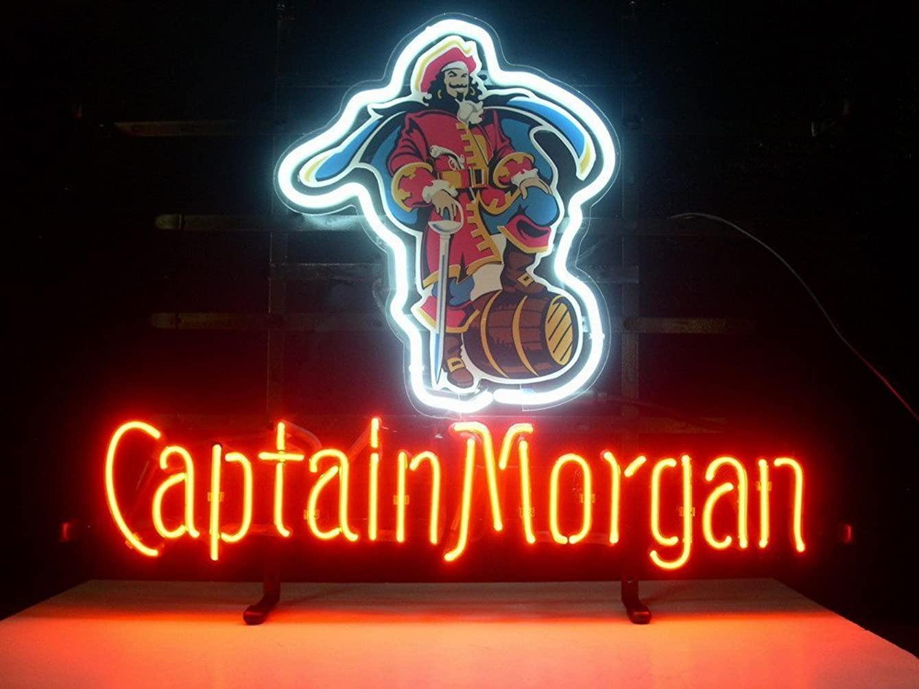 QUEEN SENSE® Captain Morgan Pirate Real Glass Neon Light Sign Home Beer Bar Pub Recreation Room Game Room Windows Garage Wall Sign L26X