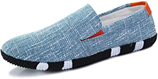 DUXINLIN Fashion Sneaker For Men Sports Shoes Slip On Style Linen Material Round Low Top Personality Stitching Round Toe (Color : Light Blue, Size : 44 EU)