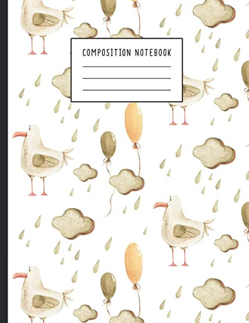 Composition Book: Watercolor Kids Fun Birds & Cloud Rainy Background, Birds Journal, School Notebook, Birds Composition Books, College Notebooks, Birds Lover Gift 8.5 x 11 120 Pages