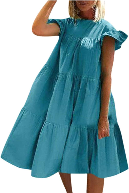 PAPIYON Fashion Women Summer Dress O-Neck Casual Solid Plus Size Comfy Ruffle Short Sleeve Pleat Dress Blue