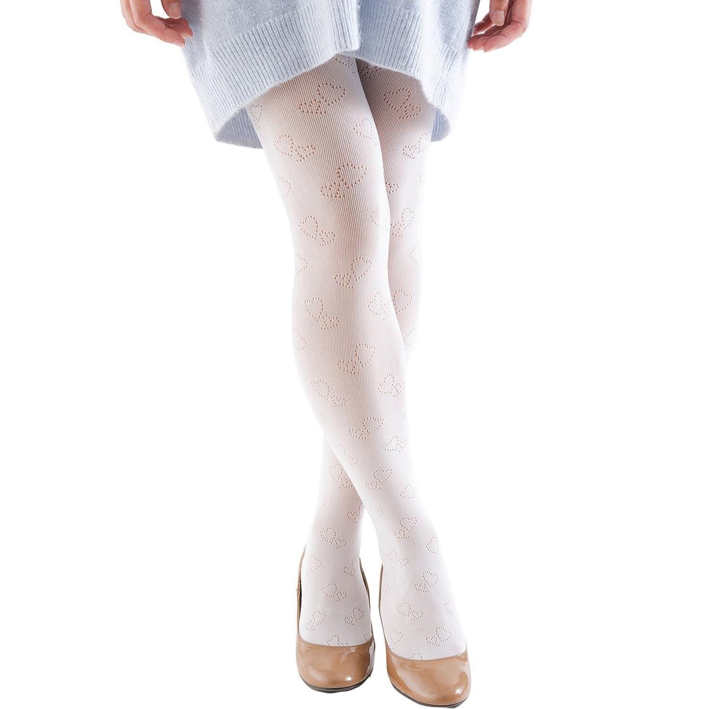 (Smileまーけっと) 柄タイツ 発表会 子供 ドレス 結婚式 レディース キッズ ジュニア フラワーガール 女の子 ハート 白 黒 ピンク ベージュ 85-165cm 日本製