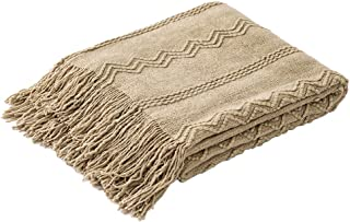 TREELY Knitted Throw Blanket Soft Warm Textured Solid Throw Couch Cover for Sofa Bed, 49 x 66.9, Taupe
