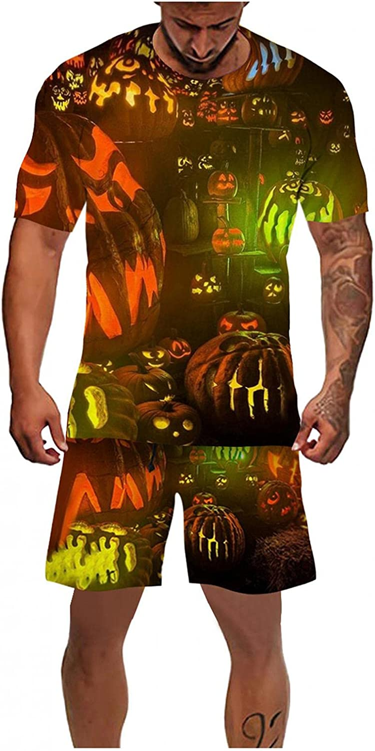 Mens 2 Piece Halloween Short Sleeve Shirt and Shorts Outfit Casual Pumpkins Skeleton Full 3D Graphic Holiday Tracksuit