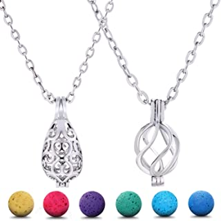 Blulu 2 Pieces Aromatherapy Essential Oil Diffuser Necklace Hollow Stainless Steel Necklace with 24 Pieces Lava Stone for ...