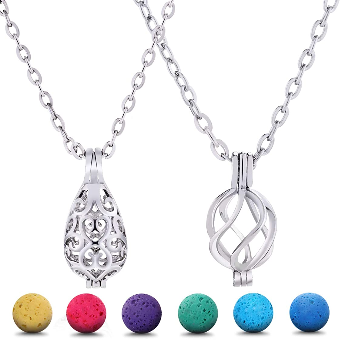 Blulu 2 Pieces Aromatherapy Essential Oil Diffuser Necklace Hollow Stainless Steel Necklace with 24 Pieces Lava Stone for Women and Girls