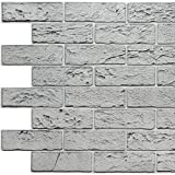 Dundee Deco PG7104-10 Grey Faux Bricks PVC 3D Wall Panel, 3.3 ft X 2 ft (99cm X 60cm), Interior Design Wall Paneling Decor, 6.4 sq. ft. (0.59 sq. m) Each, Pack of 10