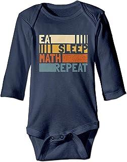 WlQshop Unisex-Baby Kurzarm Body, Eat Sleep Math Repeat Newborn Baby Girl Long Sleeve Bodysuit Bodysuits