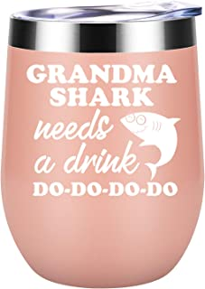 Grandma Gifts - Grandma Shark Needs a Drink - Funny Gifts for Grandma, Grandma Birthday Gifts, Christmas Gifts for Grandma, Great Grandma, Best Grandma, New Grandma Gifts - Coolife Wine Tumbler Mug