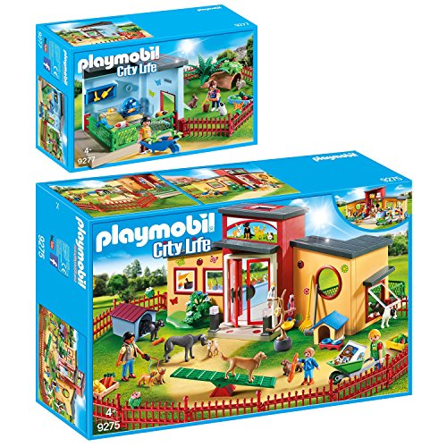 PLAYMOBIL® City Life 2er Set 9275 9277 Tierhotel Pfötchen + Kleintierpension
