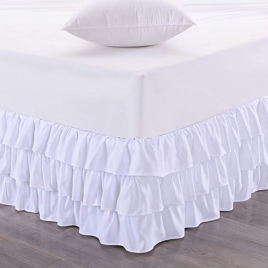 監査午後判読できないTENCMG 3層プリーツベッドスカート - ベッド表面なし低刺激性取り外し可能ベッドスカート - エラスティックバンドベッドスカート35cmドロップ,White,King200x200cm