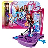Jakks Pacific Year 2012 Winx Club Series 11 Inch Doll Electronic Playset - ROCK CONCERT STAGE with Music and Sounds Plus Doll Stands, Guitar with Strap, Headset, Water Bottles, Travel Tote, Microphone and Stand, Hairbrush and Bloom Doll (Aisha and Stella Dolls Sold Separately)