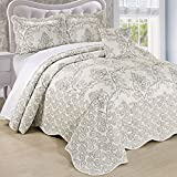 Home Soft Things Serenta Damask 4 Piece Bedspread Set, King, Antique White