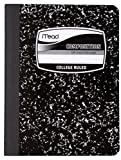 Mead Square Deal Black Marble Composition Book, 100 fogli, College Rule Righe per superiori 1 Confezione Nero