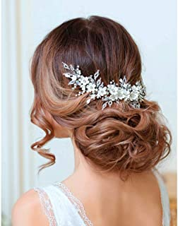 Catery Flower Bride Wedding Headband Silver Crystal Pearl Rhinestone Hair Vine Braid Babys Breath Headpieces Bridal Hair Accessories for Women