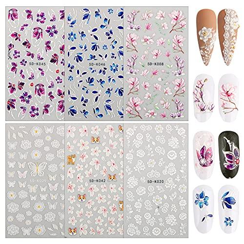 FLOFIA 6 Blätter Nagelsticker Selbstklebend 3D Blumen Nagelaufkleber Bunt Nail Art Tipp Sticker Decals DIY Dekoration für Damen Mädchen Fingernägel Tattoo