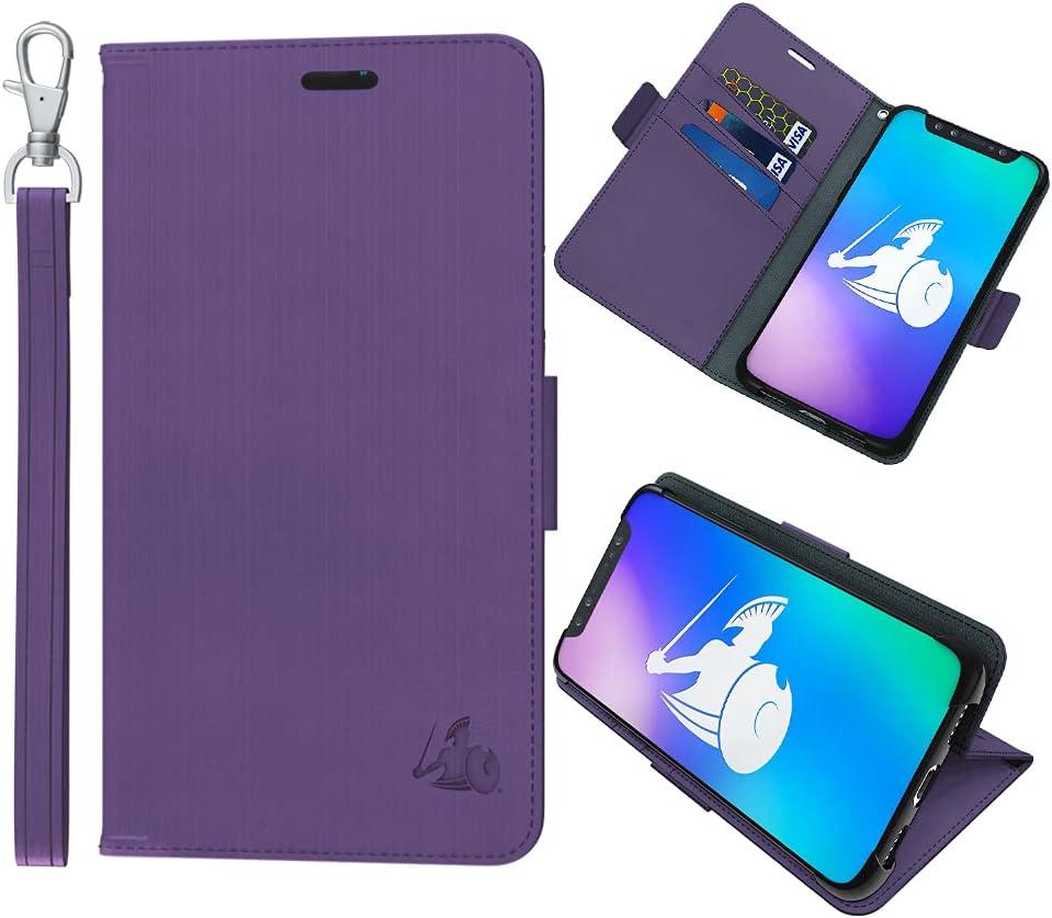 DefenderShield Compatible iPhone 12/12 Pro & 5G Radiation Protection Case - Detachable Magnetic Anti Radiation Shield & RFID Blocker Wallet Case w/Wrist Strap (Purple)