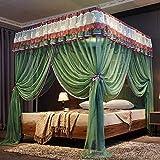 SNOLEK Moskitonetz - Edelstahlhalterung Sommer-Moskitonetz 1.8-2.0 Bettwäsche grün 1,2 m (4 Fuß) Bett