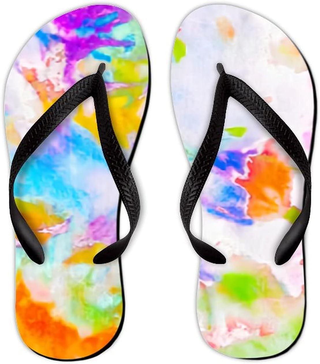 UTF4C Summer Flip Flops for Men Women Bright Watercolor Soft Lightweight Non Slip Sandals for Shower Beach Pool Bathroom Flat 7.5