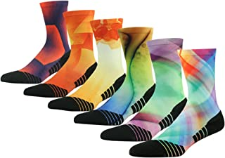 Unisex Striped Print Athletic Quarter/Ankle Running Hiking Socks 3, 4, 7 Pairs