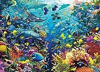 ジグソーパズル漫画のおとぎ話の水中動物大人のためのパズル1500ピース、教育的な知的減圧楽しいゲーム玩具87x57cm