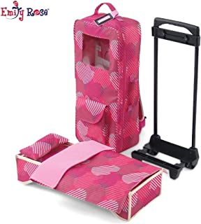 Emily Rose 18 Inch Doll Accessories | Travel Doll Closet Case / Carrier with Heavy Duty Trolley and Removable Doll Bed with Bedding | Fits 18