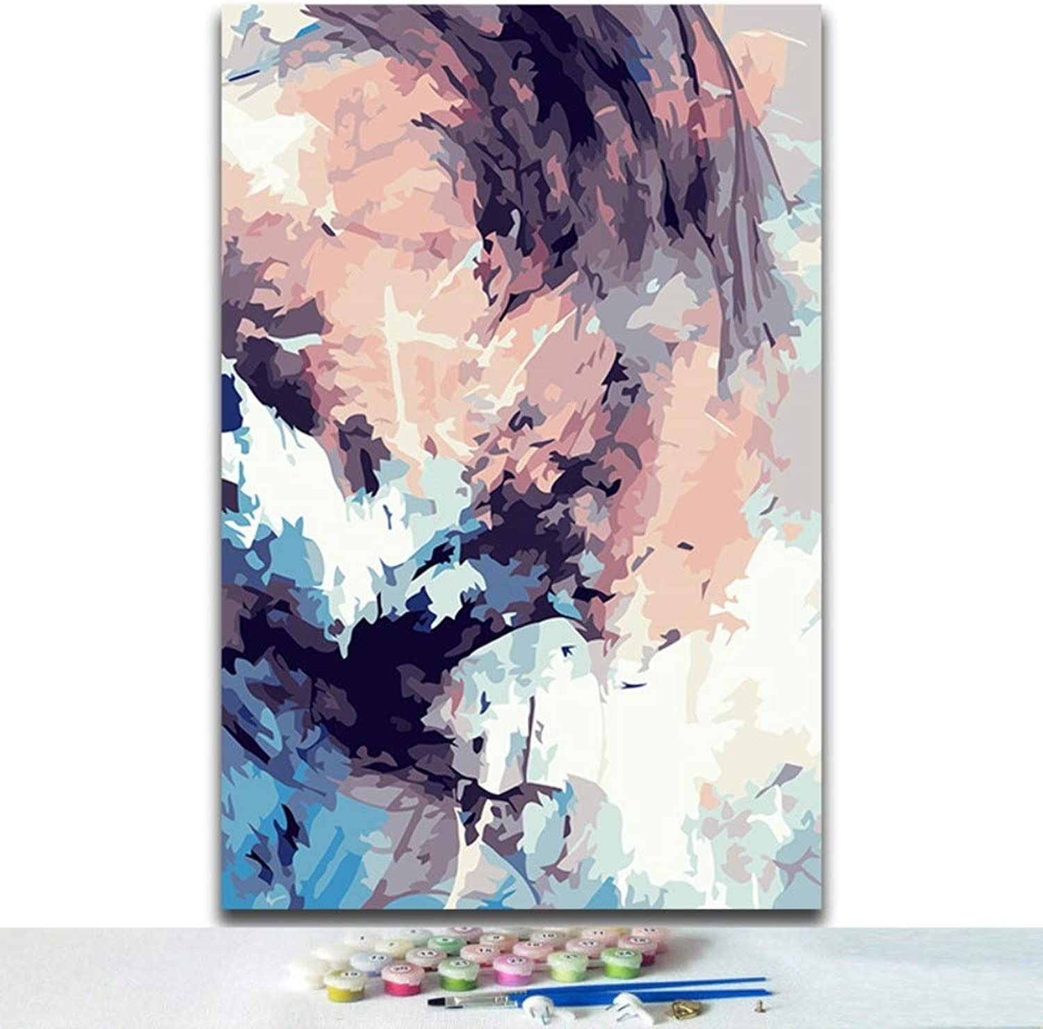 coloring DIY Oil Painting by Numbers Kits Abstract Modern Simple Scenery Pictures Paint by Numbers with colors for Adults,Framed,60X75cm