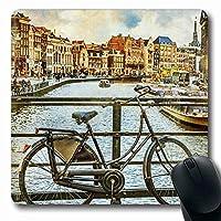 マウスパッド長方形7.9x9.8インチ自転車伝統的なオランダの運河オランダの家のファサード運河古い自転車ヴィンテージ観光ランドマーク滑り止めゴムマウスパッドオフィスコンピュータラップトップゲームマット