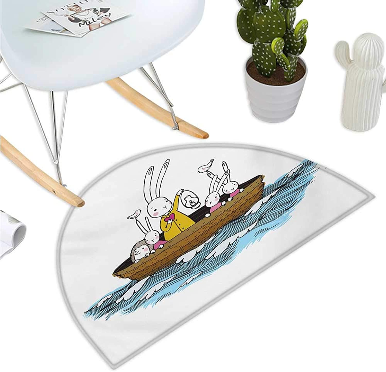 Kids Semicircular Cushion Cartoon Style Hare Family and a Hedgehog on a Sea Adventure Little Birds and Lantern Bathroom Mat H 43.3  xD 64.9  Multicolor