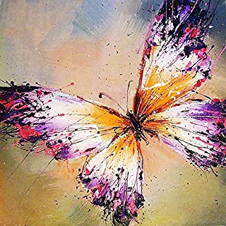 [Wood Framed] Paint by Numbers Kit with Brushes and Acrylic,Color Butterfly