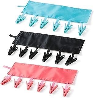 T&B 洗濯ハンガー ハンガー 干し携帯畳みハンガー 布製ハンガー 収納易い 省スペース 携帯便利 ブラック ピンク ライトブルー