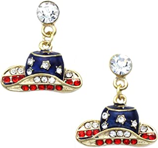 Patriotic Color Cowboy Cowgirl Dangle Hat Charm Stud Earrings