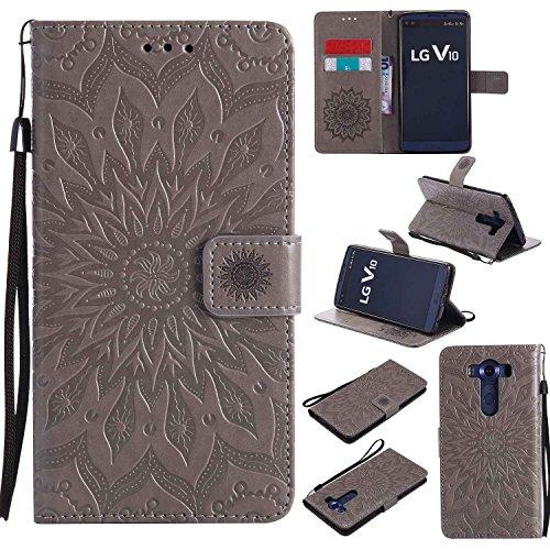 pinlu® PU Leder Tasche Etui Schutzhülle für LG V10 Lederhülle Schale Flip Cover Tasche mit Standfunktion Sonnenblume Muster Hülle (Grau)