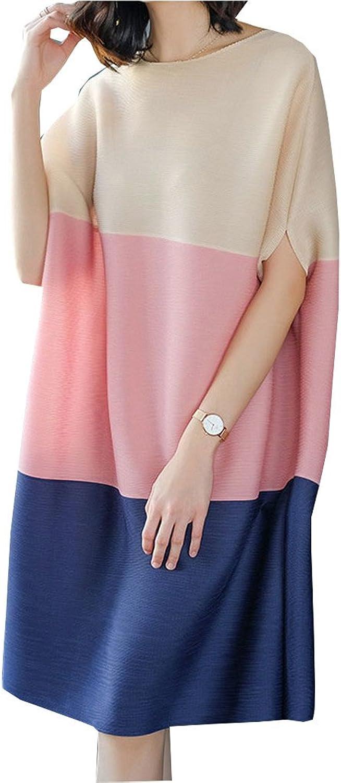 FashionRun Women's Dress, Temperament, Commuter, Wrinkle, Big Size, Loose Bat Sleeve Coloured Dress