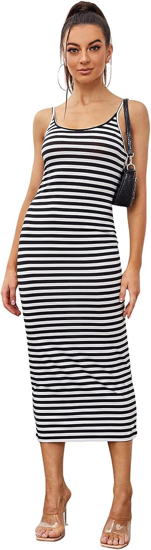 SheIn Women's Striped Sleeveless Strappy Bodycon Rib Knit Long Maxi Cami Dress