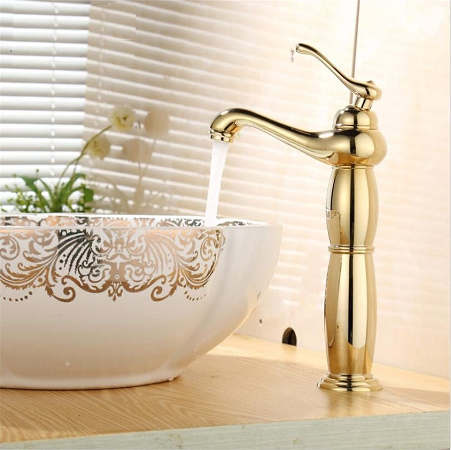 HomJo Bathroom Faucet Chrome Brass Ceramic Single Hole Sink Mixer Tap