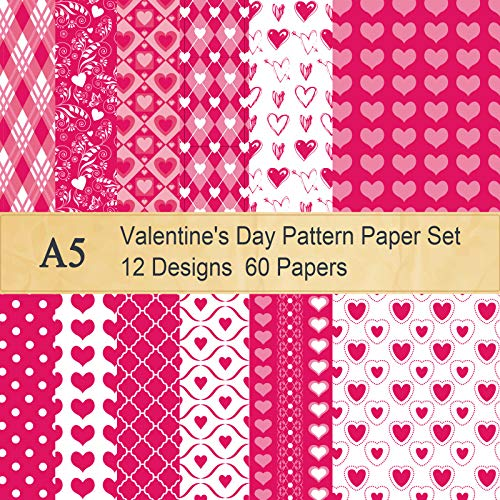 Whaline 60 Sheet Valentine Pattern Paper Set Double-Sided Decorative Paper 5.5 x 8.3