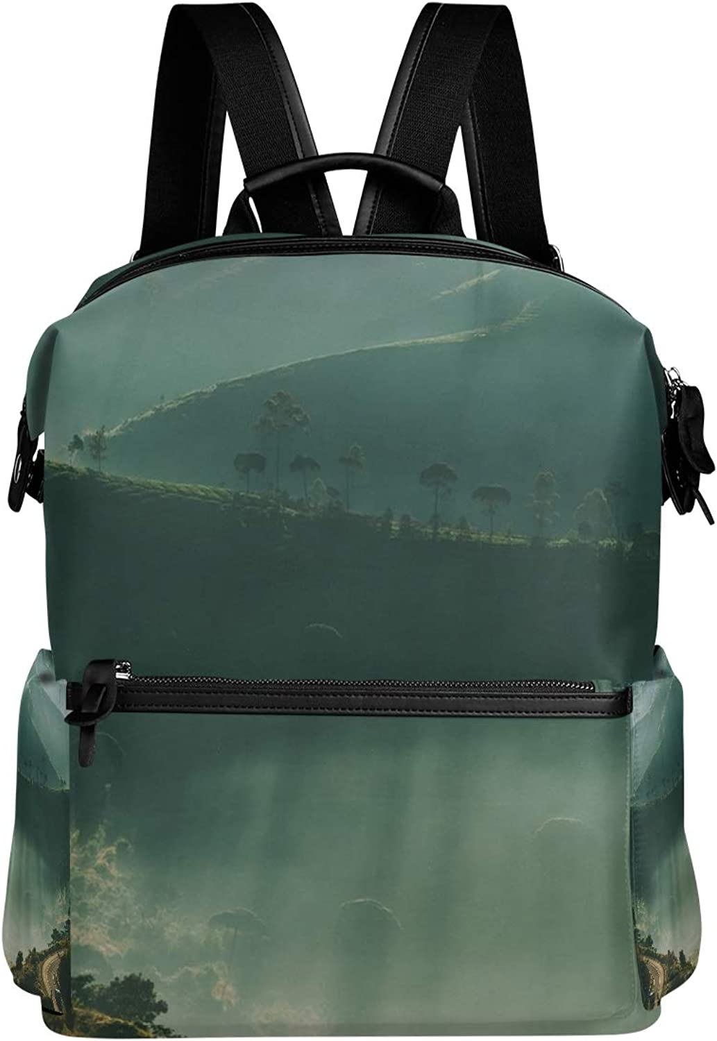MONTOJ Hazy Green Hilly Mountain Leather Travel Bag Campus Backpack
