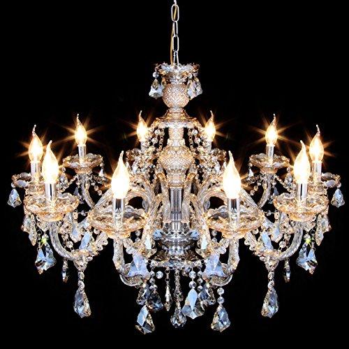 Samger Samger Luxuriöse 10 Arm Kronleuchter K9 Kristallglas Deckenleuchte Pendelleuchte Cognac Farbe für Wohnzimmer Schlafzimmer Flur Eintrag - 4