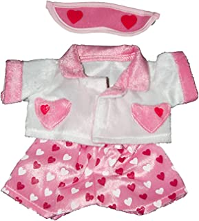"""Girl's Love Heart PJ's with Eye Cover Fits Most 8""""-10"""" Webkinz, Shining Star and 8""""-10"""" Make Your Own Stuffed Animals"""