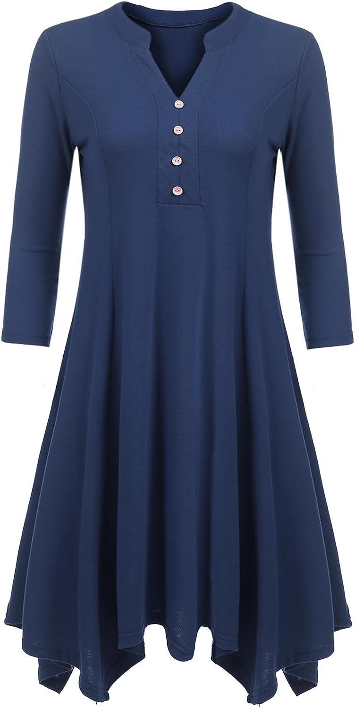 Beyove Women's Henley Tunic Asymmetrical 3 4 Sleeve Loose T Shirt Dress